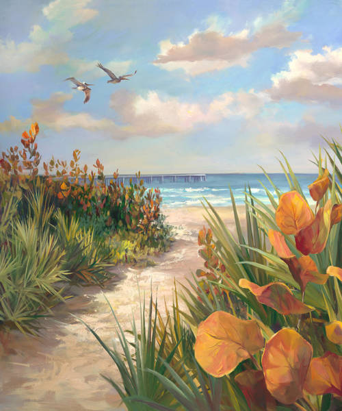 Wall Art - Painting - Juno Pier - Beach View by Laurie Snow Hein