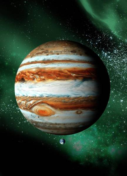 Outdoors Digital Art - Jupiter And Earth, Artwork by Science Photo Library - Victor Habbick Visions