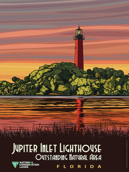 Wall Art - Painting - Jupiter Inlet Lighthouse Travel Poster by Mountain Dreams