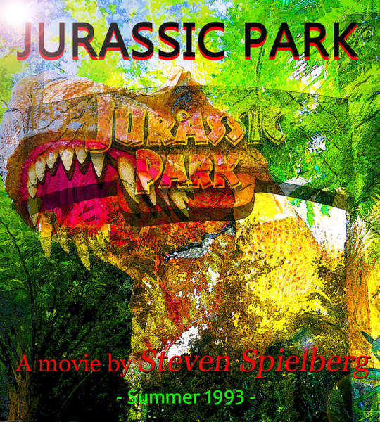 Wall Art - Mixed Media - Jurassic Park Retro Poster A by David Lee Thompson