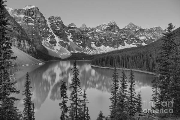 Photograph - Just After Sunrise At Moraine Lake Black And White by Adam Jewell