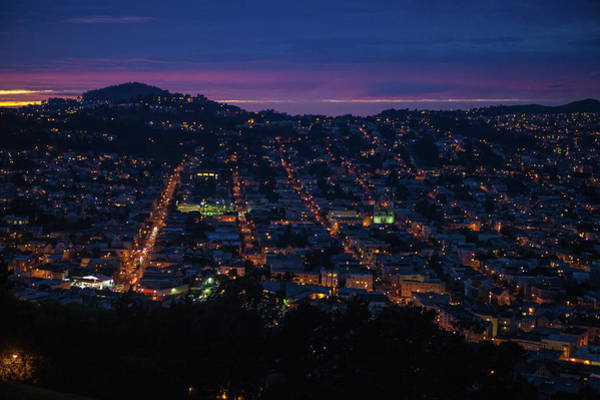 Wall Art - Photograph - Just After Sunset Over Panoramic San Francisco Hills With His Wo by Kim Vermaat