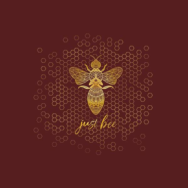Just Wall Art - Digital Art - Just Bee - Geometric Zen Bee Meditating Over Honeycomb Hive  by Laura Ostrowski