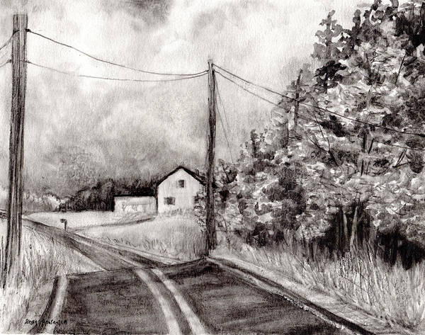 Homestead Drawing - Just Down The Road by Shana Rowe Jackson