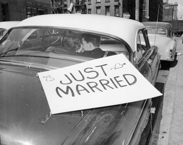 Boyfriend Photograph - Just Married by Grundy