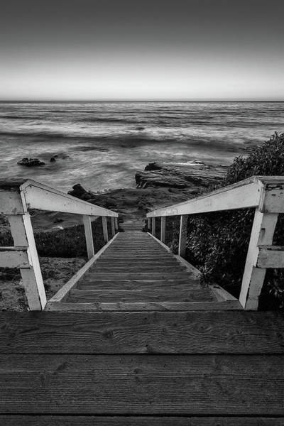 Photograph - Just Steps To The Sea    Black And White by Peter Tellone