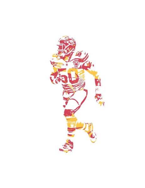 Wall Art - Mixed Media - Justin Houston Kansas City Chiefs Apparel T Shirt Pixel Art 1 by Joe Hamilton