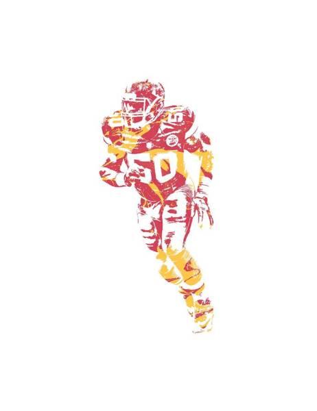 Wall Art - Mixed Media - Justin Houston Kansas City Chiefs Apparel T Shirt Pixel Art 2 by Joe Hamilton