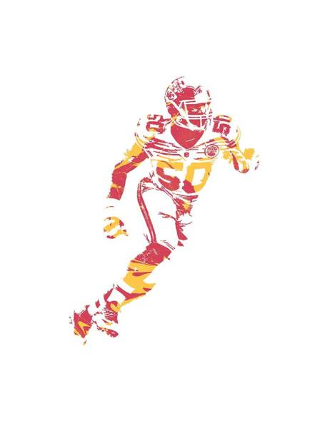 Wall Art - Mixed Media - Justin Houston Kansas City Chiefs Apparel T Shirt Pixel Art 3 by Joe Hamilton