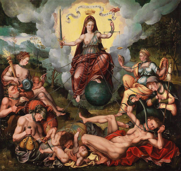 Painting - Justitia Vanquishes The Seven Capital Sins by Antoon Claeissens