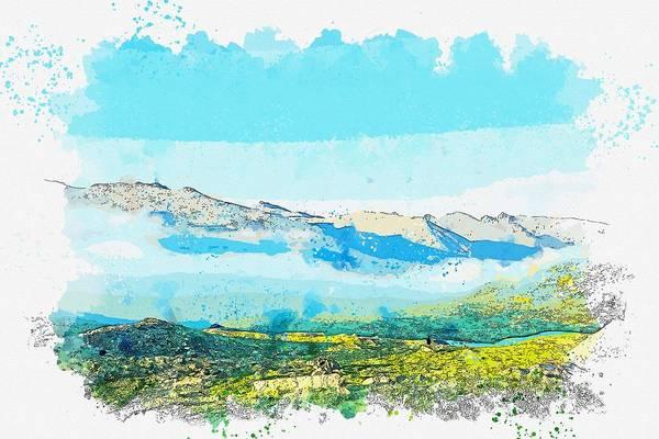 Wall Art - Painting - Kackars Mountains Landscape In Turkey 14 Watercolor By Ahmet Asar by Ahmet Asar