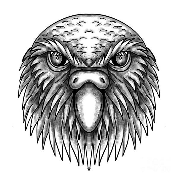Wall Art - Digital Art - Kakapo Owl Parrot Head Tattoo by Aloysius Patrimonio