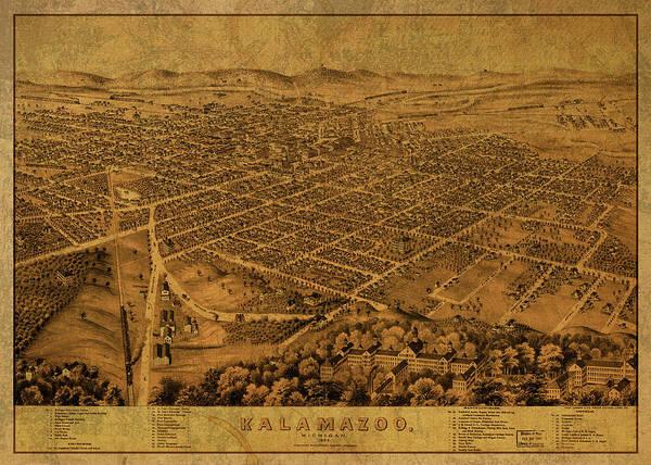 Wall Art - Mixed Media - Kalamazoo Michigan Vintage City Street Map 1874 by Design Turnpike
