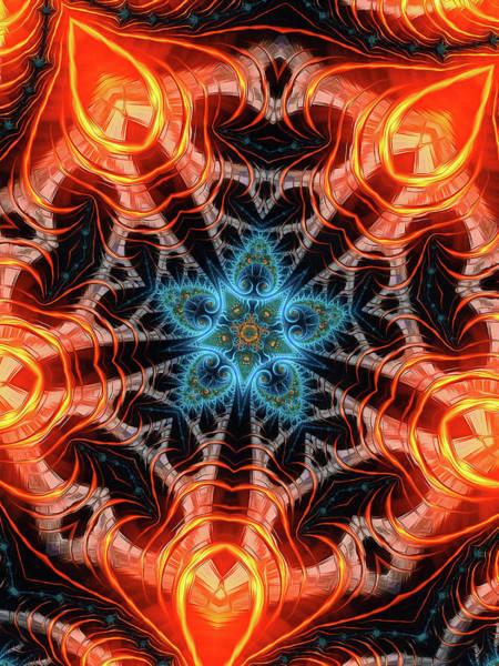 Wall Art - Digital Art - Kaleidoscope Art Orange And Aqua Vertical by Matthias Hauser
