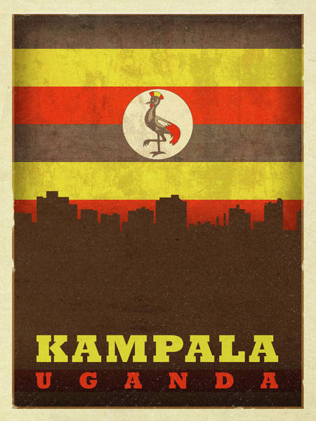 Wall Art - Mixed Media - Kampala Uganda World City Flag Skyline by Design Turnpike