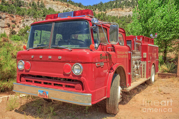 Wall Art - Photograph - Kanab Fire Department Ford Engine by Edward Fielding