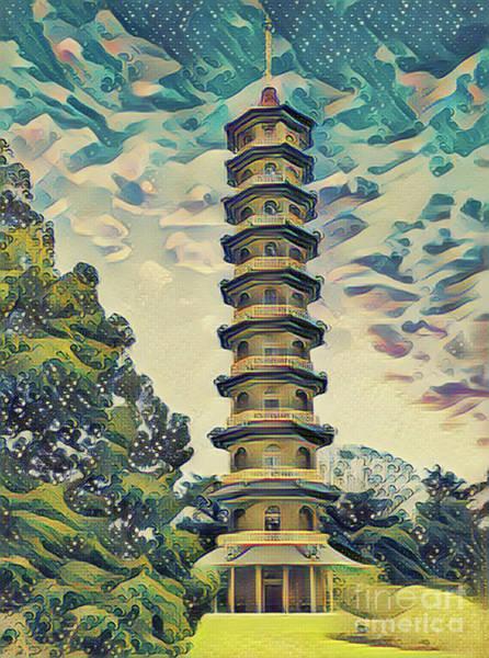 Photograph - Kanagawa - Pagoda -  Kew Gardens by Leigh Kemp