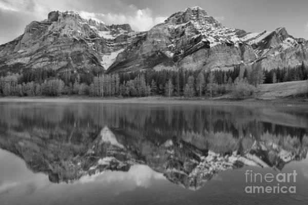 Photograph - Kananaskis Mountain Reflections Black And White by Adam Jewell