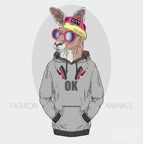 Wall Art - Digital Art - Kangaroo Boy Dressed Up In Urban Style by Olga angelloz