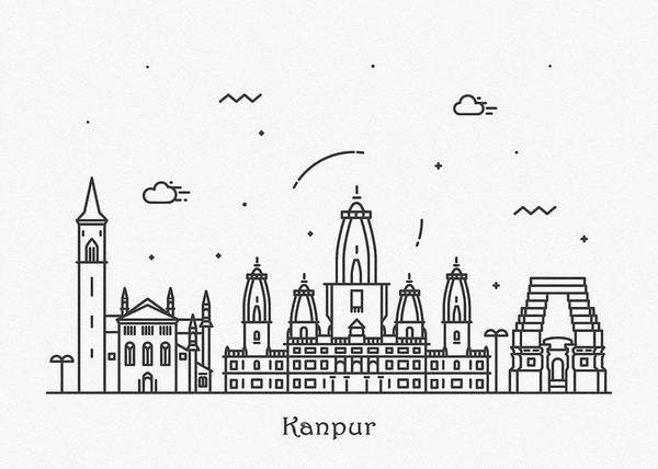 Landmark Center Drawing - Kanpur Cityscape Travel Poster by Inspirowl Design