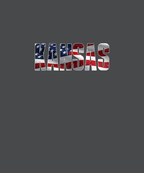 Wall Art - Digital Art - Kansas 4th Of July American Flag T-shirt by Unique Tees