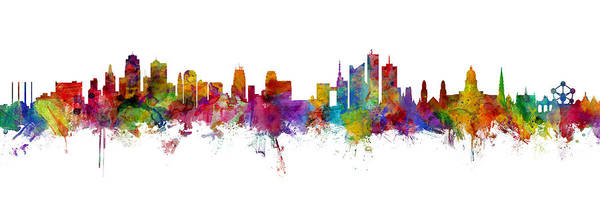 Wall Art - Digital Art - Kansas City And Brussels Skyline Mashup by Michael Tompsett
