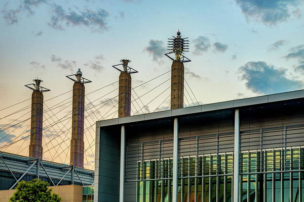 Photograph - Kansas City Bartle Hall Sky Stations At Dawn by Gregory Ballos