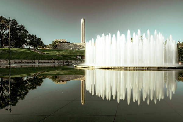 Photograph - Kansas City Henry Wollman Bloch Fountain With War Memorial Reflections by Gregory Ballos