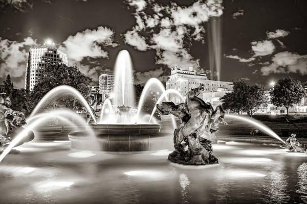 Country Club Plaza Photograph - Kansas City J.c. Nichols Fountain At Night - Sepia Edition by Gregory Ballos