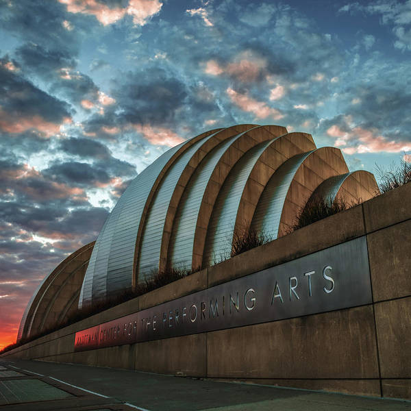Photograph - Kansas City Kauffman Center With Moody Morning Clouds by Gregory Ballos