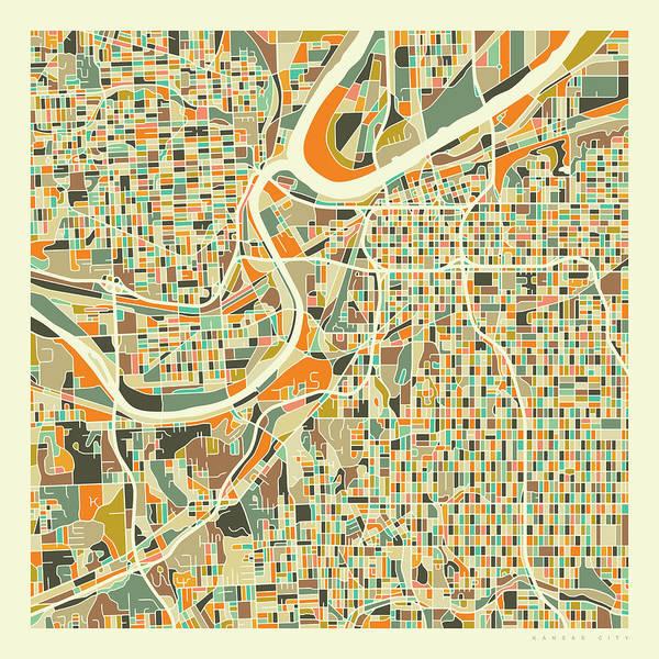 City Map Wall Art - Digital Art - Kansas City Map 1 by Jazzberry Blue