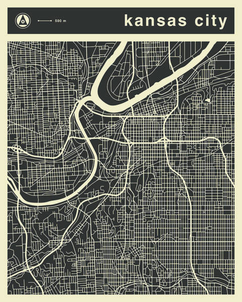 Wall Art - Digital Art - Kansas City Map 3 by Jazzberry Blue