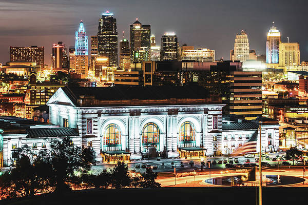 Photograph - Kansas City Missouri Night Skyline Over Union Station by Gregory Ballos