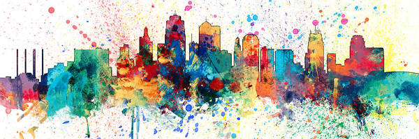Wall Art - Digital Art - Kansas City Missouri Skyline Panoramic Spash by Michael Tompsett