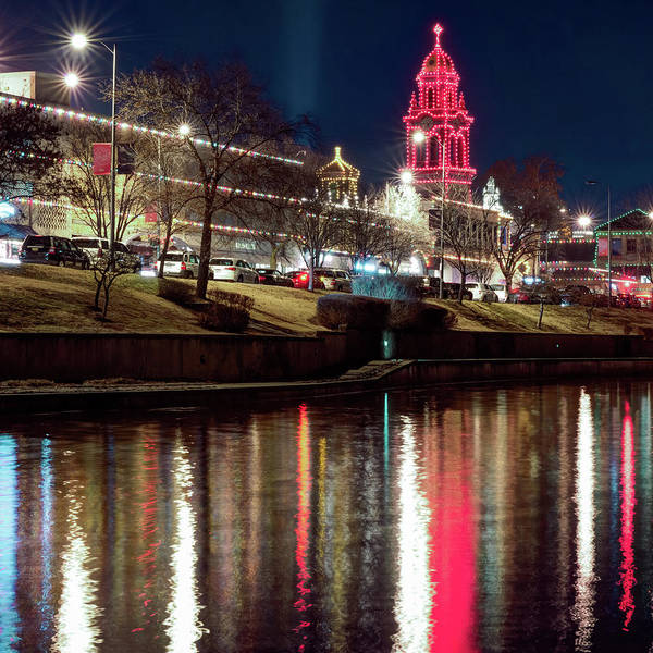 Country Club Plaza Photograph - Kansas City Plaza Light Reflections - Square Format by Gregory Ballos