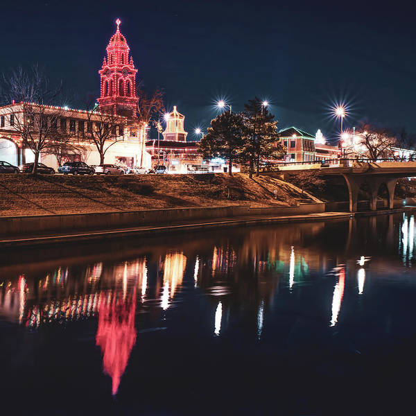 Country Club Plaza Photograph - Kansas City Plaza Lights Over Brush Creek - Square by Gregory Ballos