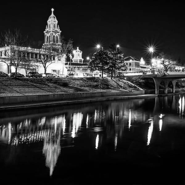 Country Club Plaza Photograph - Kansas City Plaza Lights Over Brush Creek - Square Monochrome by Gregory Ballos