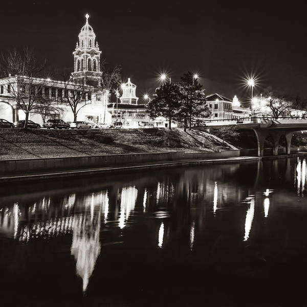 Country Club Plaza Photograph - Kansas City Plaza Lights Over Brush Creek - Square Sepia by Gregory Ballos