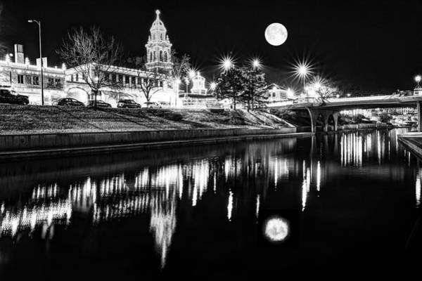 Photograph - Kansas City Plaza Lights Under Full Moon Light - Monochrome by Gregory Ballos