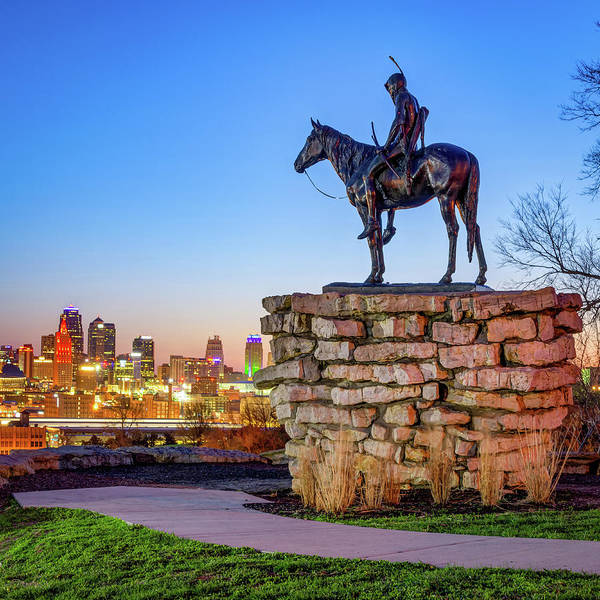 Photograph - Kansas City Scout Overlooking The Skyline by Gregory Ballos