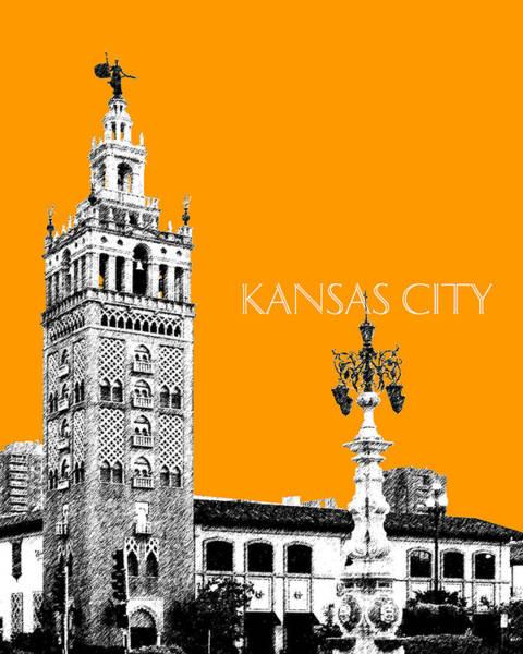 Wall Art - Digital Art - Kansas City Skyline 2 - Dark Orange by DB Artist