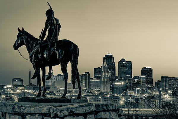 Photograph - Kansas City Skyline And The Scout Statue - Sepia Edition by Gregory Ballos