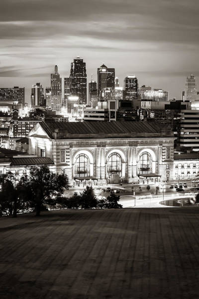 Wall Art - Photograph - Kansas City Skyline And Union Station - Classic Sepia Monochrome by Gregory Ballos