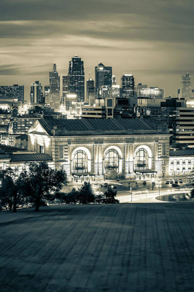 Photograph - Kansas City Skyline And Union Station - Sepia Monochrome by Gregory Ballos