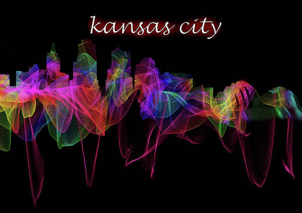 Capitol Digital Art - Kansas City Skyline Art With Script by Debra and Dave Vanderlaan