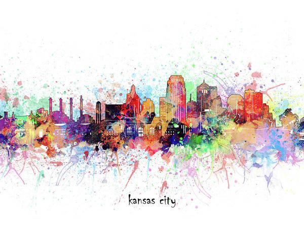 Wall Art - Digital Art - Kansas City Skyline Artistic by Bekim M
