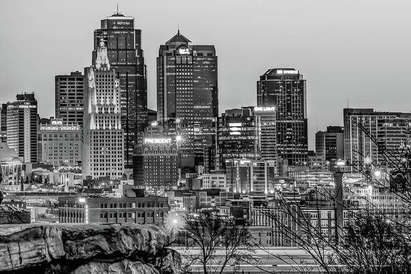 Photograph - Kansas City Skyline At Dawn - Monochrome by Gregory Ballos