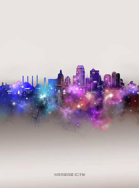 Wall Art - Digital Art - Kansas City Skyline Galaxy by Bekim M
