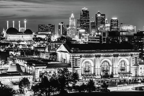 Photograph - Kansas City Skyline Over Union Station - Black And White Edition by Gregory Ballos