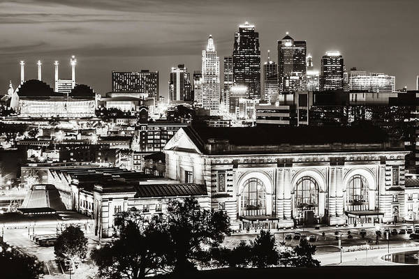 Photograph - Kansas City Skyline Over Union Station - Classic Sepia Edition by Gregory Ballos